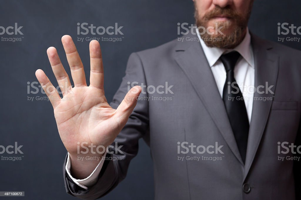 Businessman Showing Five Finger stock photo