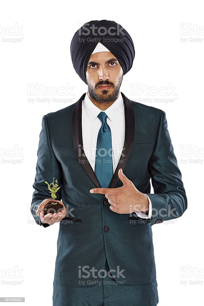 Businessman showing growth on business royalty-free stock photo