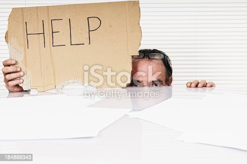 istock Businessman Showing Help Sign,Copy Space. 184869343