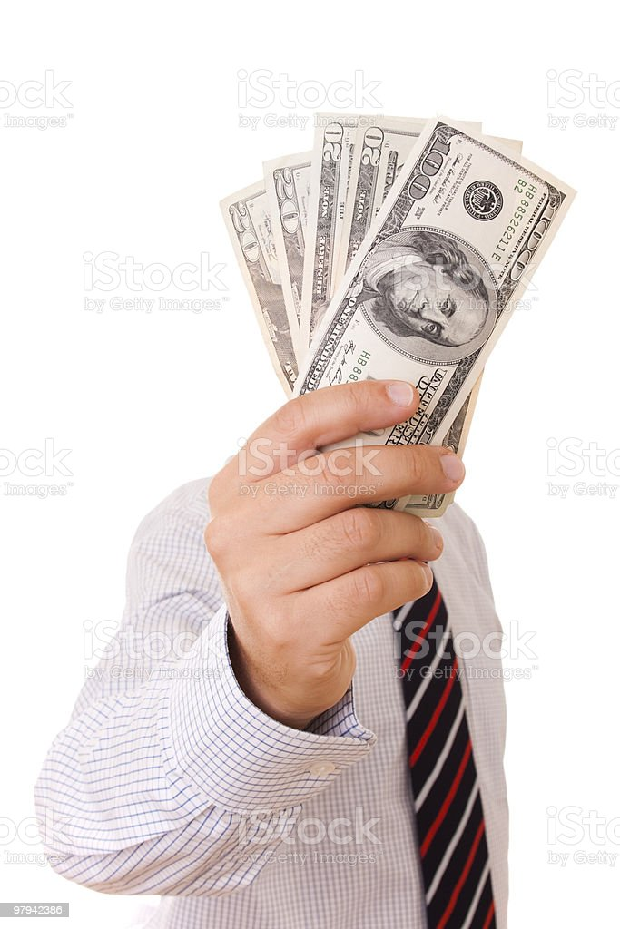 businessman showing his money royalty-free stock photo