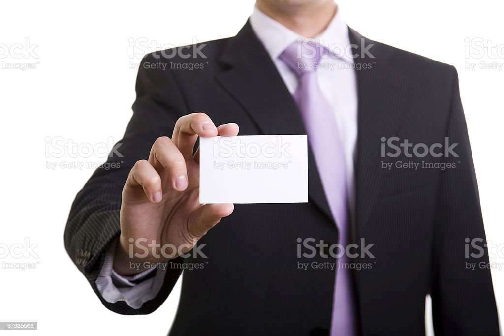 Businessman showing is card royalty-free stock photo