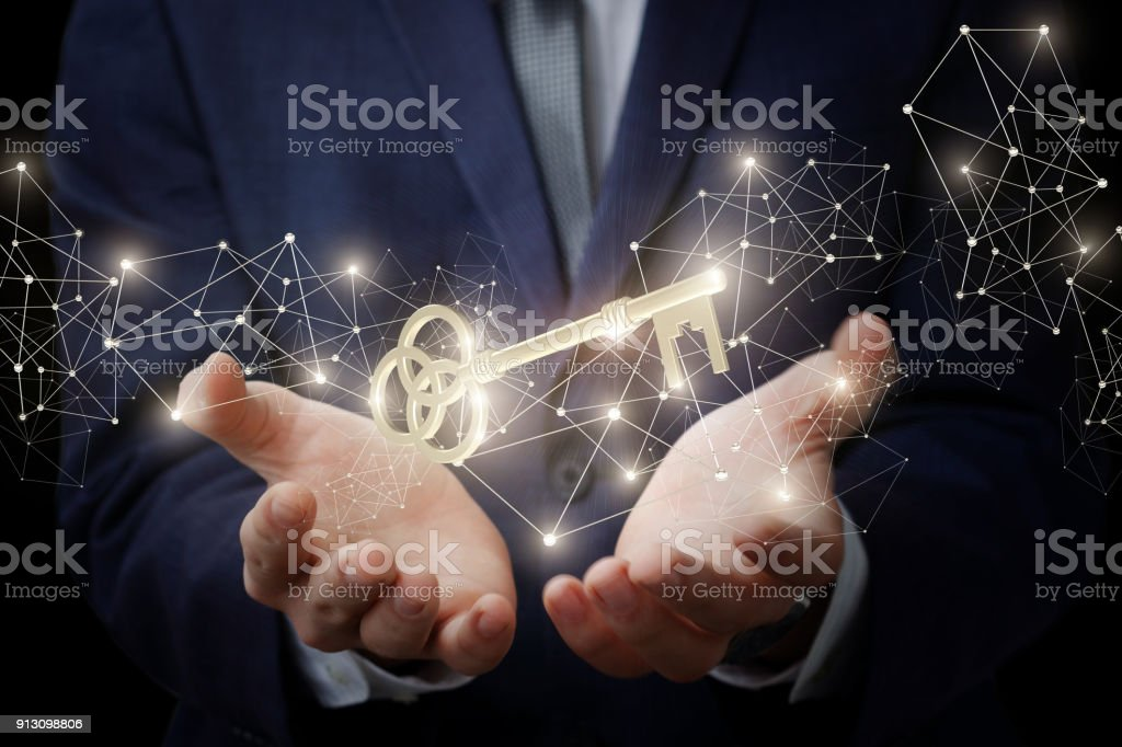 Businessman showing is the key to success. stock photo