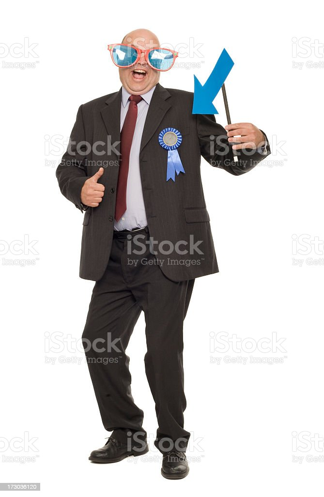 Businessman showing off with ribbon stock photo