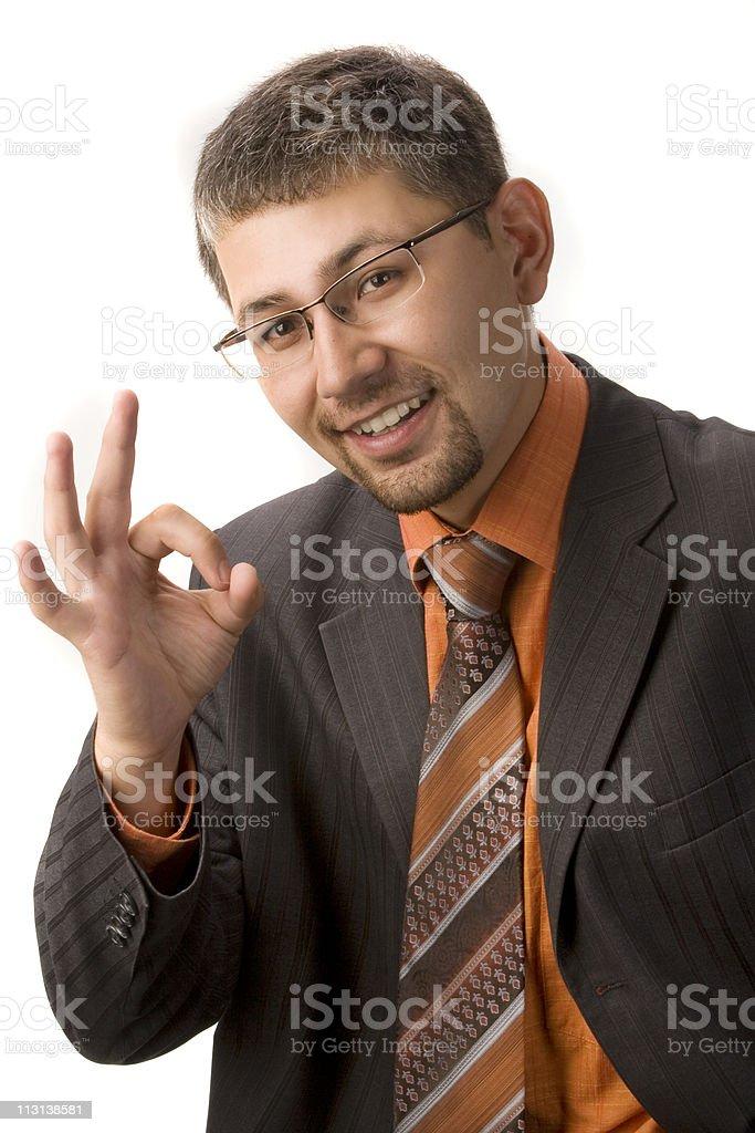 Businessman showing ok stock photo