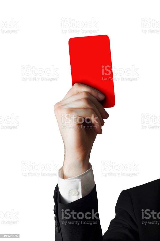 businessman showing red card stock photo