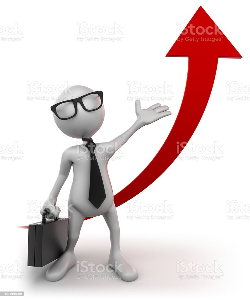 3D Businessman showing rising graph, isolated w. clipping path stock photo
