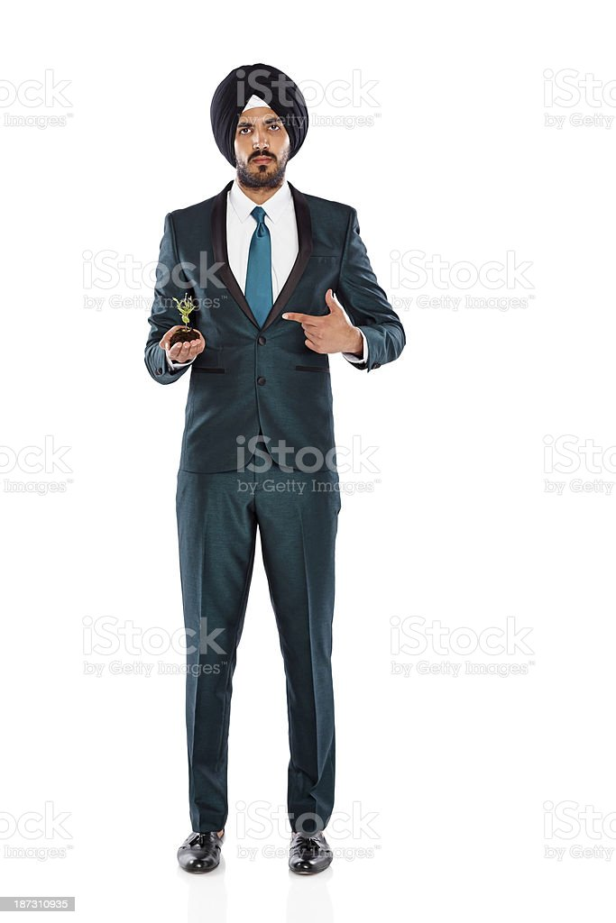 Businessman showing seedling in his hand royalty-free stock photo