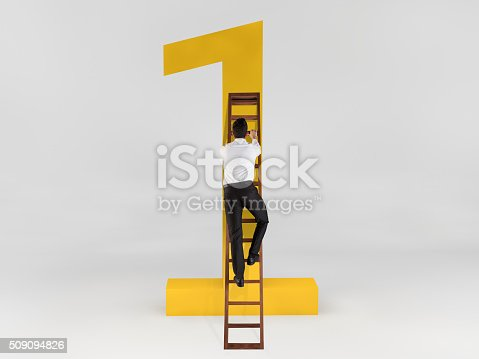 istock Businessman showing target 509094826