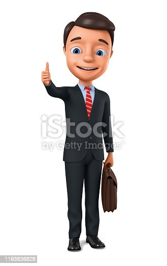 471353682istockphoto Businessman showing thumbs up on white background. 1163836828
