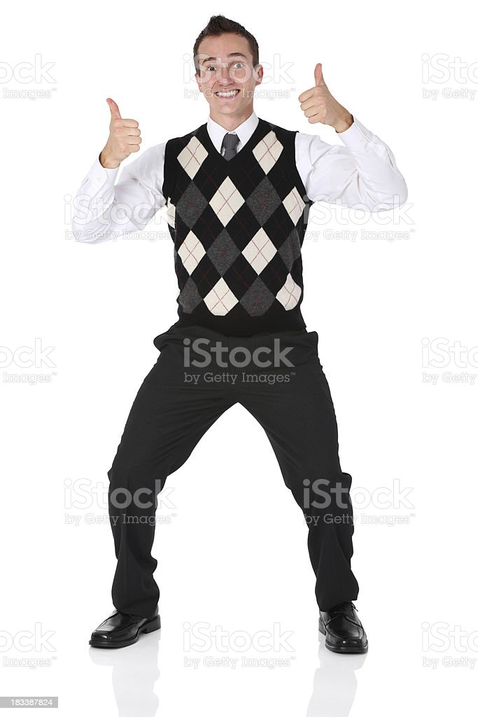 Businessman showing thumbs up sign royalty-free stock photo