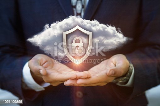 istock Businessman shows a Security system . 1051409856