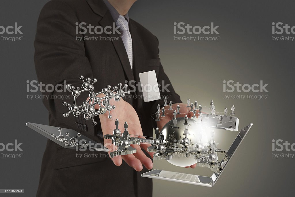 businessman shows modern technology royalty-free stock photo