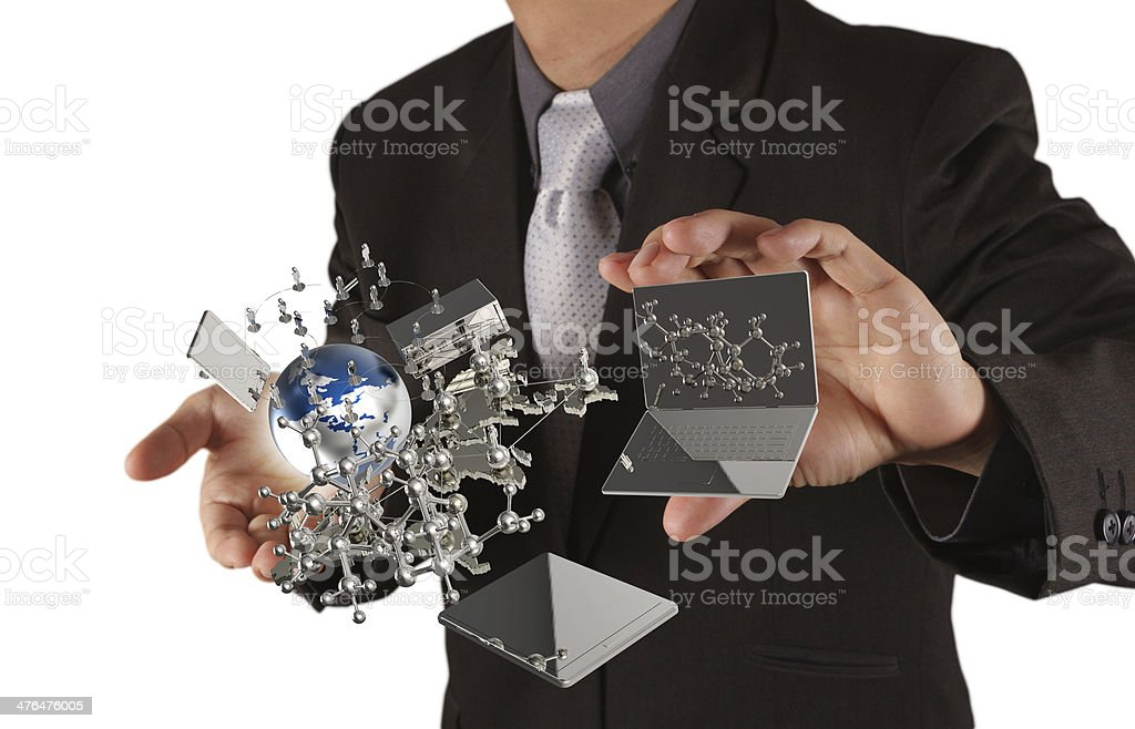 businessman shows modern technology royalty-free stock photo