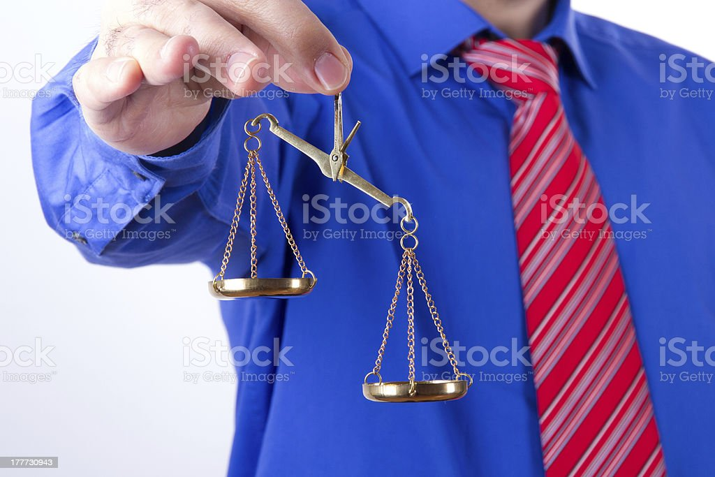 Businessman Shows Scales stock photo