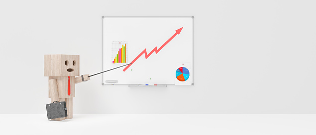 istock Businessman shows the chart, funny character 3d render 1168075616