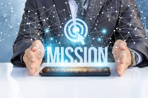 hombre de negocios muestra a la misión de la palabra. - misión fotografías e imágenes de stock