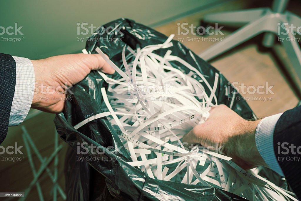 Businessman Shredding Office Documents royalty-free stock photo
