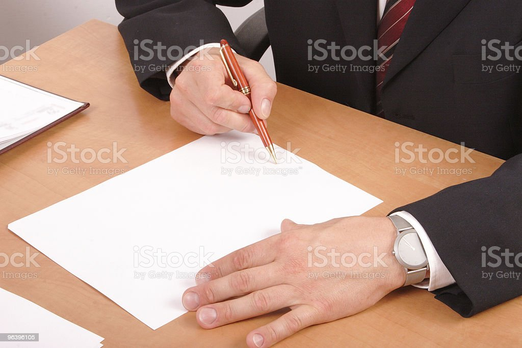 businessman signing papers - Royalty-free Adult Stock Photo