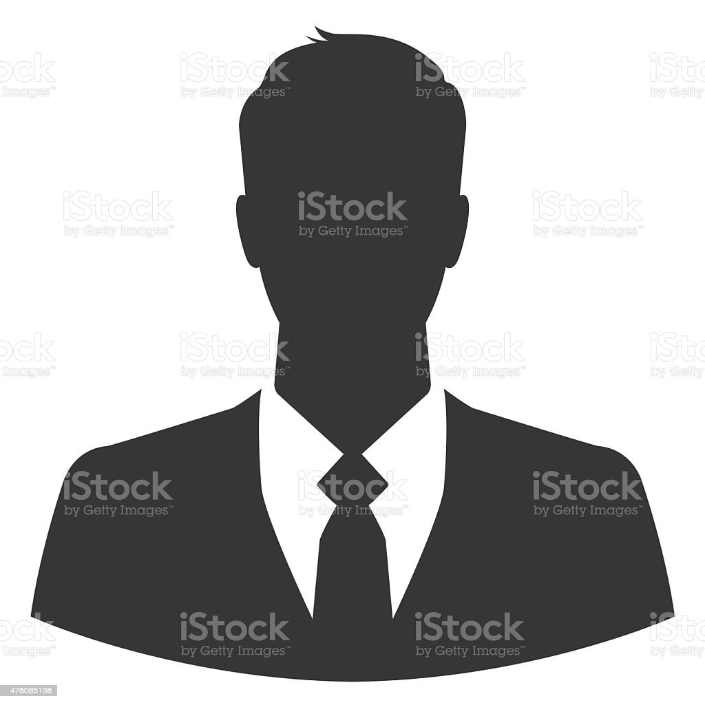 Businessman silhouette as avatar or default profile picture stock photo