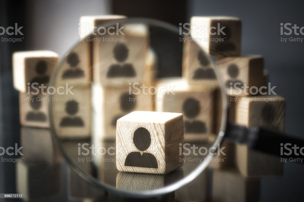 Businessman silhouette focusing - Choose stock photo
