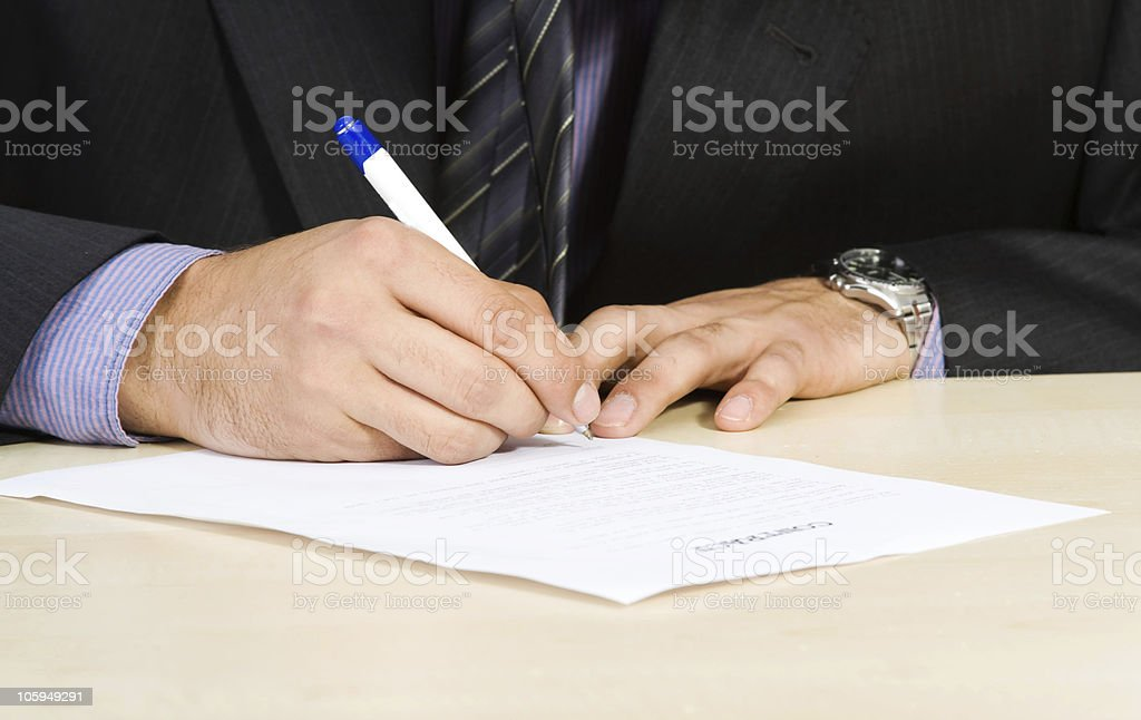 businessman singing contract royalty-free stock photo