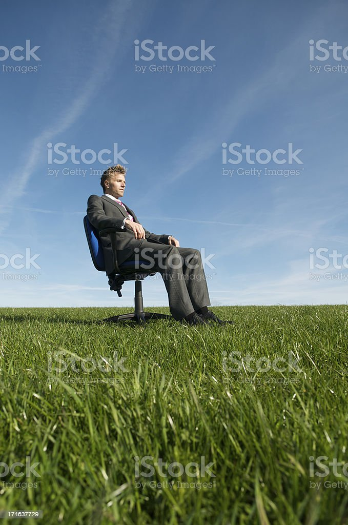 Businessman Sits on Chair in Meadow royalty-free stock photo