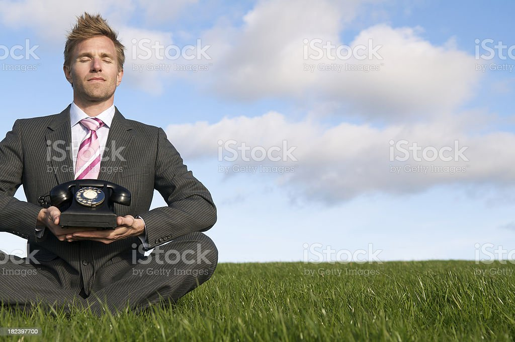 Businessman Sits w Telephone on Tranquil Meadow stock photo