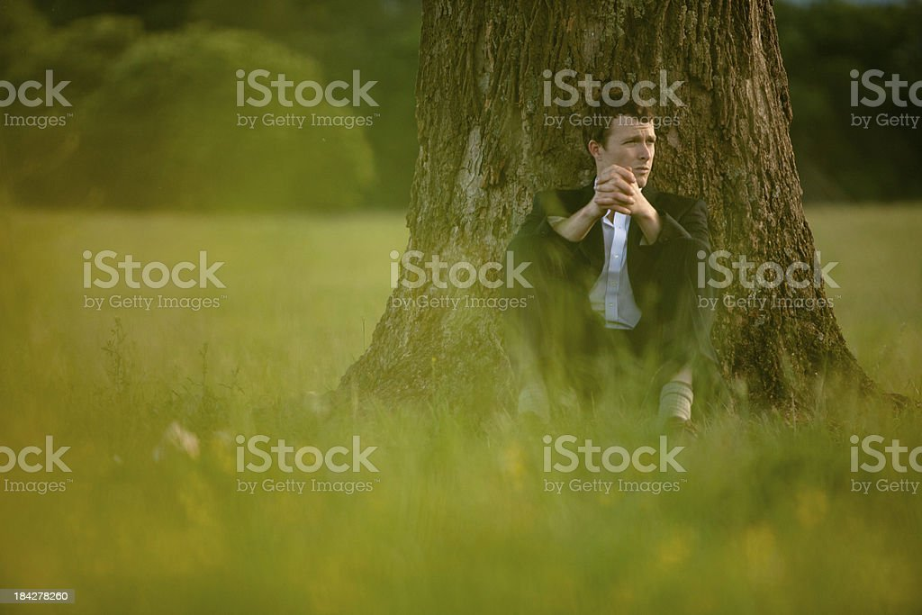 Businessman sitting against a tree searching for answers royalty-free stock photo