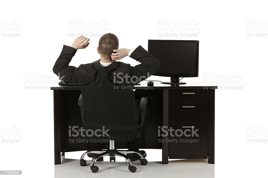 Businessman sitting in his office royalty-free stock photo