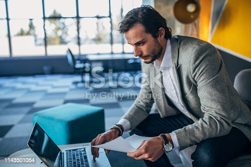 530281733istockphoto Businessman sitting on sofa in modern office and working on laptop 1143501054