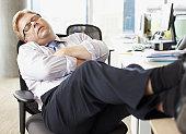 ビジネスマン寝室、足のデスク