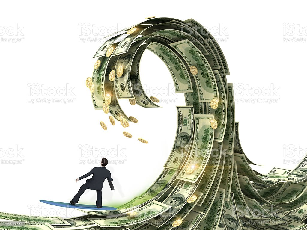 businessman slips surfing on a wave of money stock photo