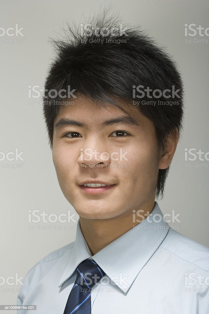 Businessman smiling, portrait, close-up royalty free stockfoto