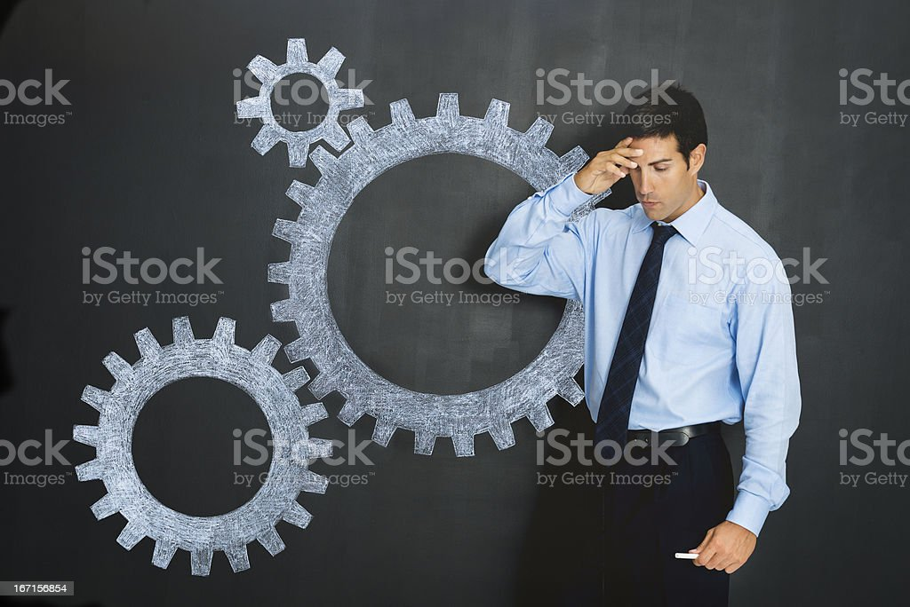 Businessman solving problems royalty-free stock photo