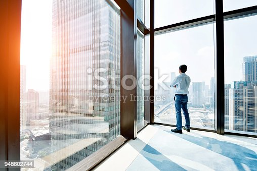 Businessman standing and looking at cityscape