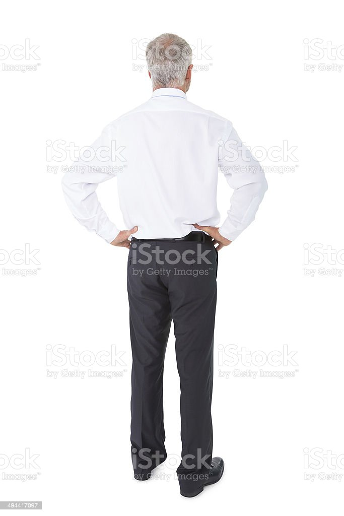 Businessman standing back to camera hands on hips stock photo