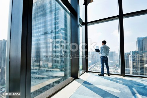 Businessman standing by the window and using laptop