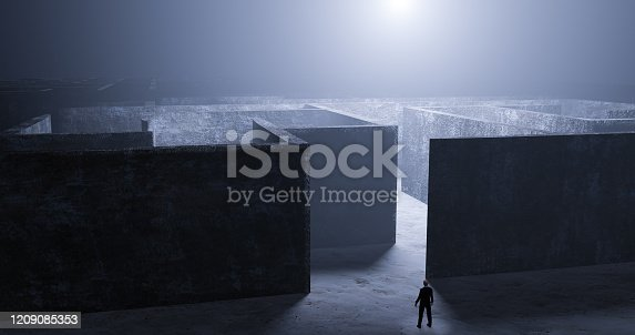 istock Businessman standing defiantly in front of an entrance to a labyrinth in the mist and a mysterious light - 3d render illustration 1209085353