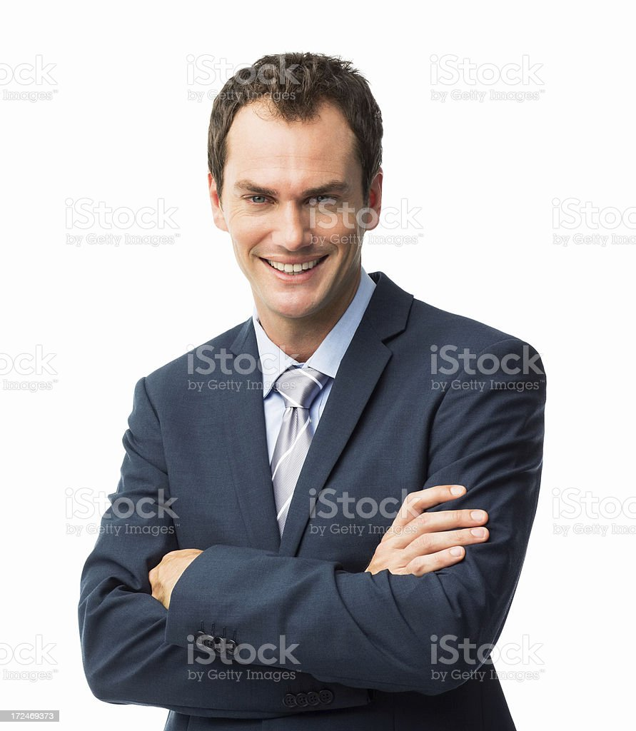 Businessman Standing Hands Folded - Isolated royalty-free stock photo