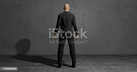 istock Businessman standing in front of a wall in darkness place - 3d render illustration 1209085360