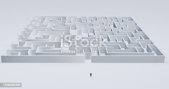 istock Businessman standing in front of a white maze - 3d render illustration 1209085350