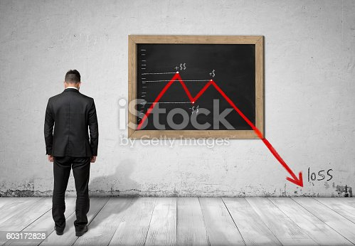 istock Businessman standing in front of blackboard with falling diagram 603172828