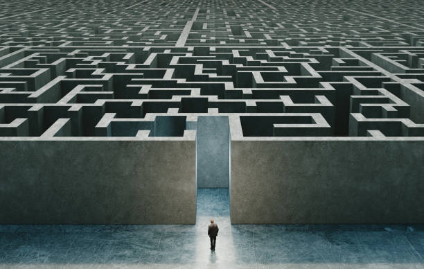 Businessman standing in front of the entrance to the maze. Solution concept. 3d rendering stock photo