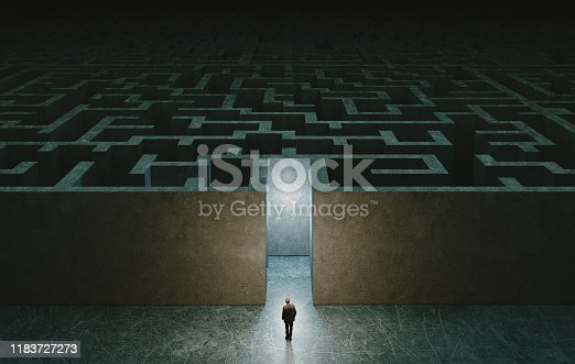Businessman standing in front of the entrance to the maze. Solution concept