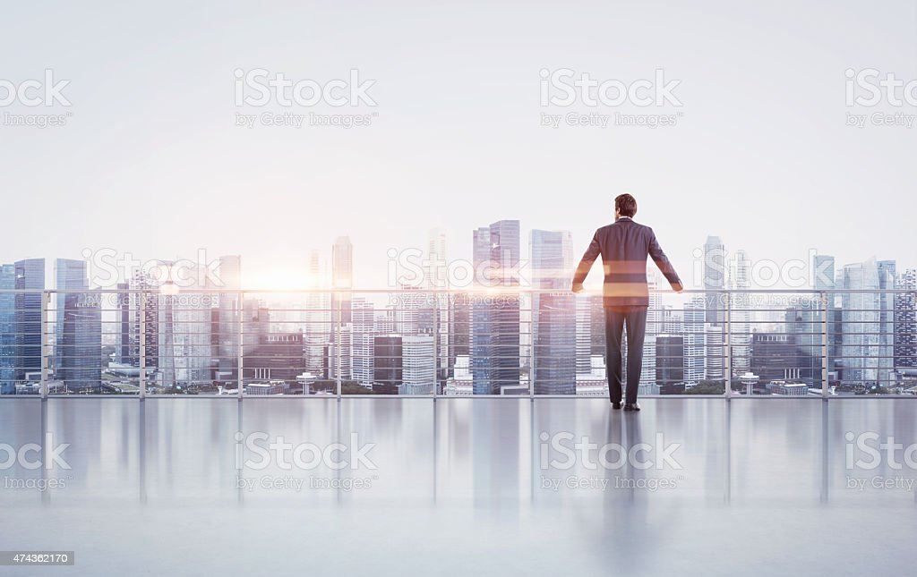 Businessman standing on a roof and looking at sunset stock photo