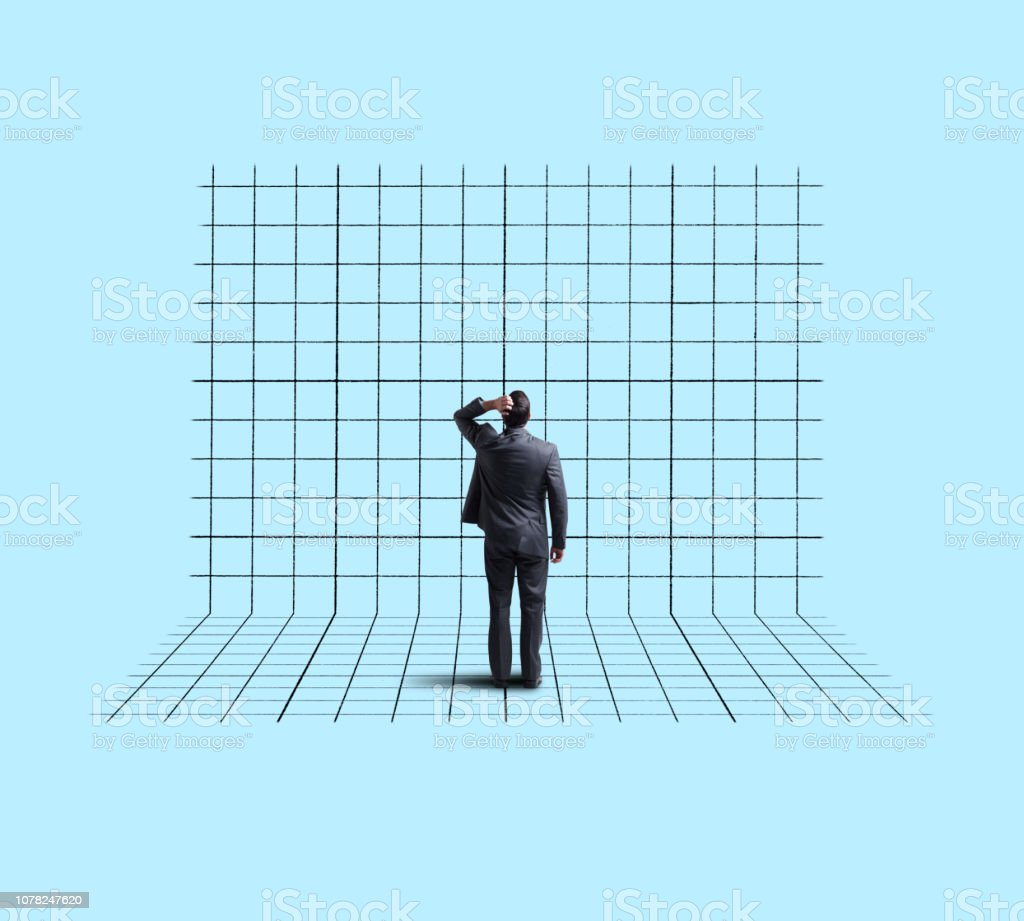 Businessman Standing On And Looking Up At Blank Chart stock photo