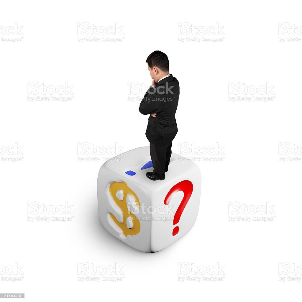 Amazing Businessman Standing On Dice Of Dollar Sign Stock Photo Evergreenethics Interior Chair Design Evergreenethicsorg