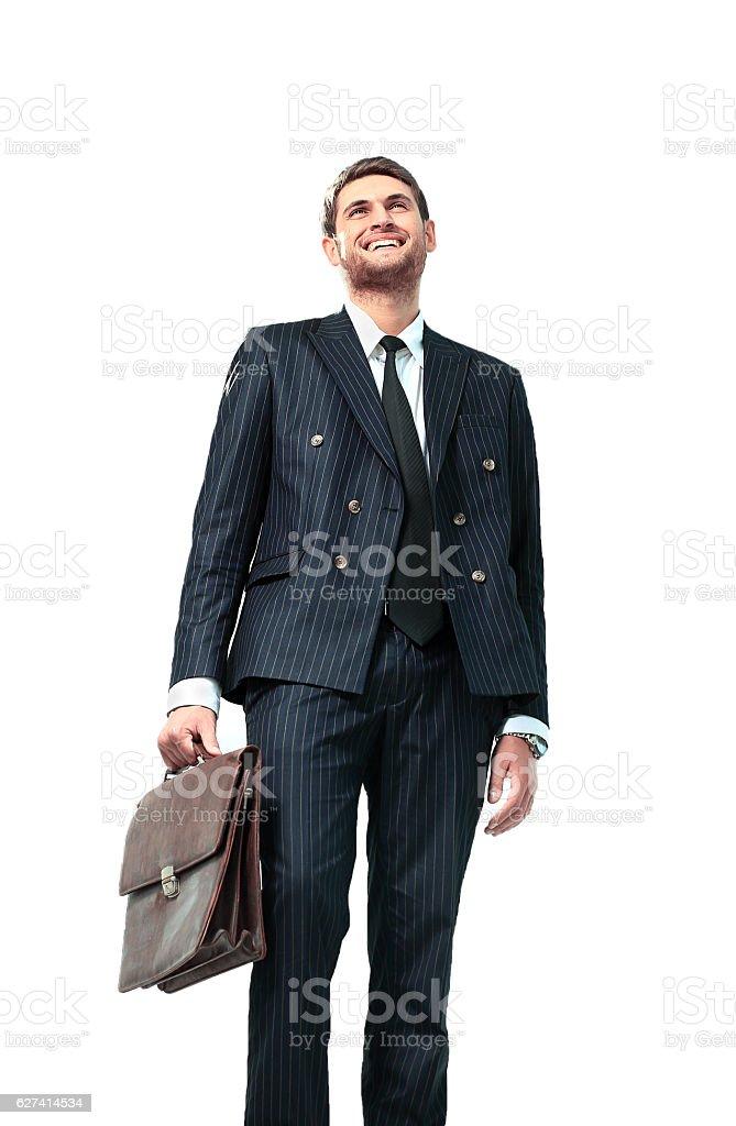 businessman standing on vertex stock photo