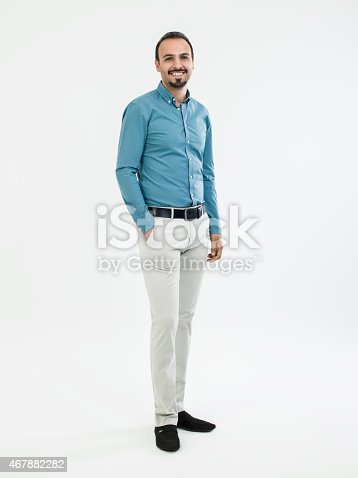 istock Businessman standing over white background 467882282