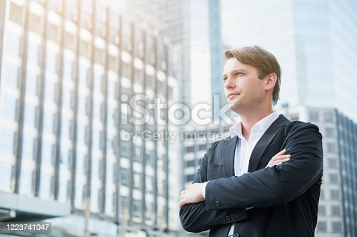 891418990 istock photo Businessman standing with arms crossed on business building background 1223741047
